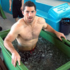 Rob Kearney settles into an ice bath after training with the rest of the Ireland squad at Queenstown Events Centre