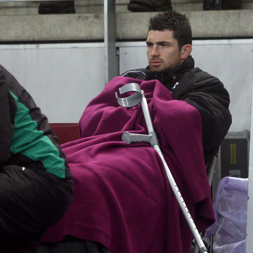 An injured Rob Kearney at the Stade de France