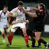 Ulster number 8 Robbie Diack tries to fend off Gavin Kerr during the Magners League tie