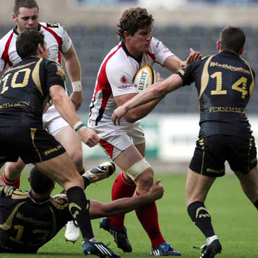 Ulster's Robbie Diack on the attack against the Ospreys