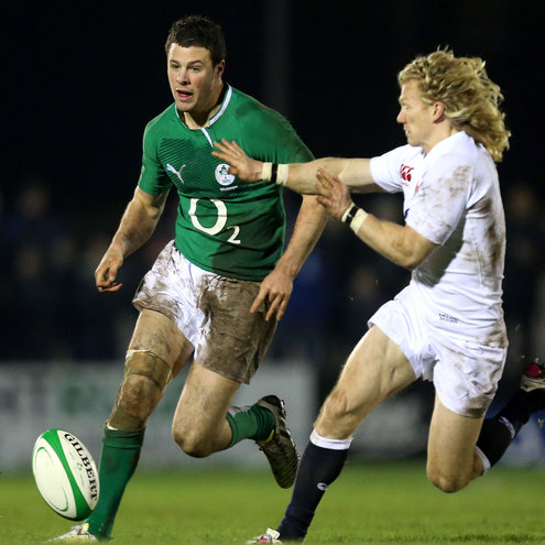 Robbie Henshaw in action for the O2 Ireland Wolfhounds in Galway last season