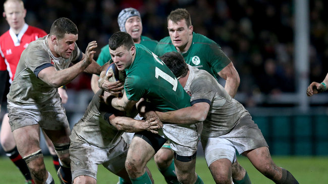 Robbie Henshaw in action for the Wolfhounds