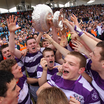 Robert Hynes lifts the cup for Clongowes Wood