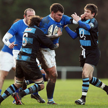 St. Mary's College prop Robert Sweeney on the attack against Shannon