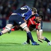 Munster centre Rua Tipoki has nowhere to go as Leinster's Rocky Elsom and Rob Kearney sandwich him