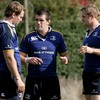 Shane Jennings and Jamie Heaslip talk tactics with their new back row colleague Rocky Elsom