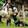 Leinster flanker Rocky Elsom prepares to pop a pass to a team-mate during the Sportsground thriller