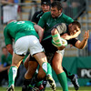 New Zealand underage international Rodney Ah You is doubled team by the Ireland Select XV's John Hayes and Tony Buckley