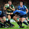 Two Ireland-capped back rowers collide as Northampton's Roger Wilson is tackled by Leinster replacement Shane Jennings