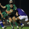 Connacht prop Ronan Loughney, who more than held his own in the scrum, takes the ball into contact