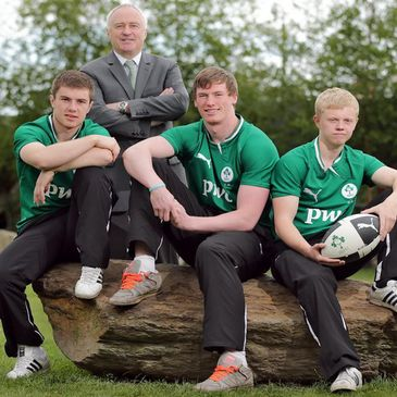 PwC's Ronan Murphy with the Ireland Under-20 players