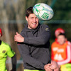 Out-half Ronan O'Gara throws a pass towards a team-mate during Wednesday's training stint at Dooradoyle