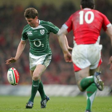 Ronan O'Gara kicks the match-winning drop goal against Wales in 2009