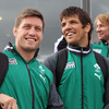 Ronan O'Gara and Donncha O'Callaghan, two of the more experienced members of the Ireland squad, were pleased to see so many of the locals and travelling Ireland fans outside Queenstown Airport