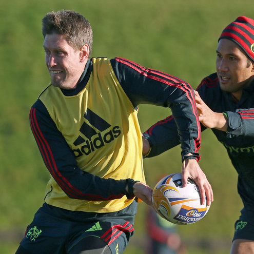 Ronan O'Gara training alongside Casey Laulala