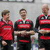 Ronan O'Gara shares a joke with David Wallace and Paul O'Connell prior to Wednesday's open training session at Thomond Park
