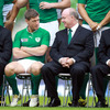Ronan O'Gara, who will wear the number 10 jersey against England, is pictured chatting with Ireland head coach Declan Kidney