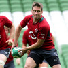 Ronan O'Gara prepares to throw a pass during the Ireland squad's final training session of the week