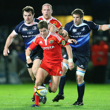 Ronan O'Gara chases the ball against Leinster