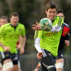 Ronan O'Gara flings a pass away during Wednesday's training session in his native Cork