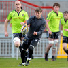 Ronan O'Gara fires a pass away as Paul O'Connell, Donnacha Ryan and Marcus Horan look on