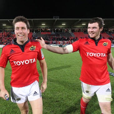 Munster's Rpnan O'Gara and Peter O'Mahony