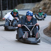 Ronan O'Gara's facial expression has not changed since he got off his luge cart at the Skyline Luge in Queenstown