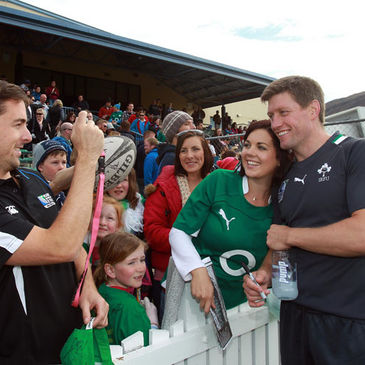 Ronan O'Gara is pictured with some fans from his native Cork