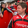 Munster out-half Ronan O'Gara got a warm welcome as he made his way out to the Thomond Park pitch