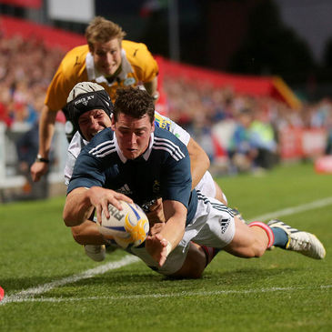 Ronan O'Mahony dives over for his third try
