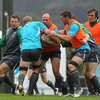 Rory Best takes the ball into contact as the players tune up for Ireland's fifth ever World Cup quarter-final. In previous last-eight encounters, they have been beaten twice by both Australia and France