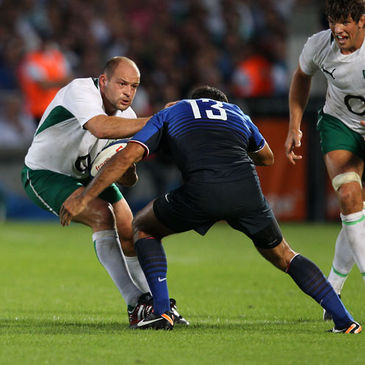 Hooker Rory Best in action against France