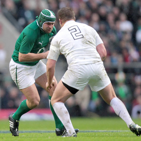 Rory Best takes on England's Dylan Hartley
