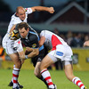 Ulster captain Rory Best and out-half Niall O'Connor double up on Glasgow's Graeme Morrison