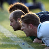 Forwards Rory Best and Jamie Heaslip are closest to the camera as the players take part in a training drill at Carton House