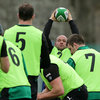 Rory Best, Ireland's most capped hooker with 63 appearances, prepares to throw the ball into a lineout