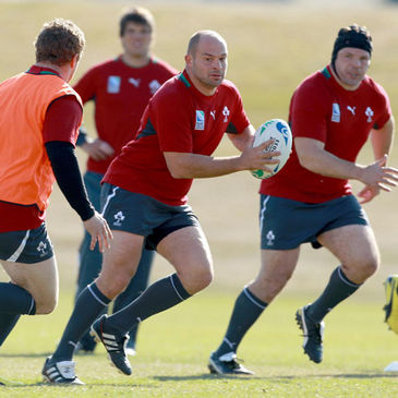 Rory Best carries the ball forward during Tuesday's training session