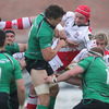 Connacht flanker Mike McCarthy and Ulster's Rory Best scrap for possession during the opening minutes of the Magners League derby