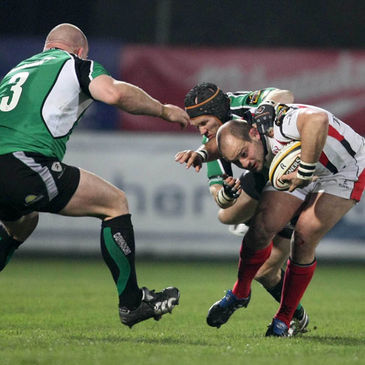 Ulster captain Rory Best is tackled by Connacht's Robbie Morris and Johnny O'Connor