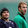 Ulster duo Rory Best and Stephen Ferris familiarise themselves with the Twickenham surroundings during the Captain's Run