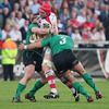 Ulster's try-scoring skipper Rory Best is swallowed up by Connacht front rowers Brett Wilkinson and Jamie Hagan