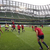 Rory Best, Ireland's reserve hooker for the England clash, throws the ball in at a lineout during today's squad session