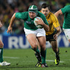Rory Best, who put in another assured display at hooker, is pictured trying to break away from Australian winger Adam Ashley-Cooper