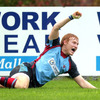 Young winger Rory Scholes celebrates after scoring the only try in Belfast Harlequins' tight Division 1B victory over UL Bohemians