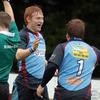 Belfast Harlequins captain Robert Logan congratulated Rory Scholes whose first half try proved crucial in the end