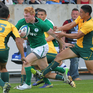 Ireland's Rory Scholes in action against Australia