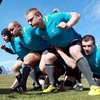 Mike Ross, Rory Best, Tom Court and Shane Jennings are pictured during the scrummaging session in Queenstown today