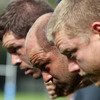 Mike Ross, Rory Best and Tom Court will form Ireland's starting front row against the USA. The average weight of the pack is 113kg (18 stone)