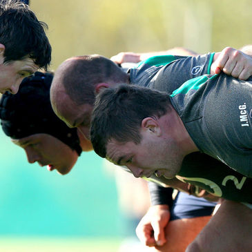 The Ireland front row of Mike Ross, Rory Best and Jack McGrath