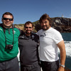 Props Mike Ross and Tony Buckley are pictured enjoying the fishing trip with the squad's physiotherapist Cameron Steele